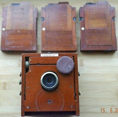 THE 1896 INSTANTOGRAPH PLATE CAMERA WITH LENS 3 x DOUBLE SLIDES FOR RESTORATION.