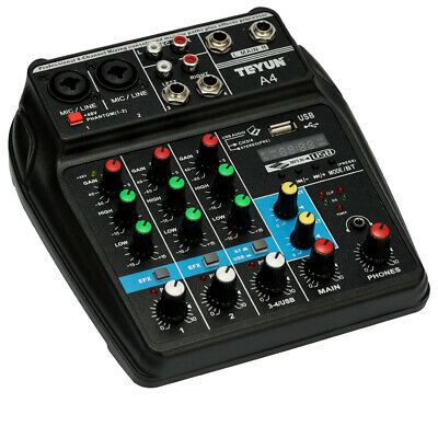 Sound Mixing Console Record 48V Phantom Power Monitor 4 Channel Audio Mixer C2V5