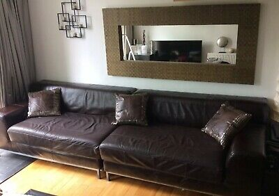 IKEA Large 5 Seater Brown Leather Sofa (Collect Only)Comes In 2 Sections
