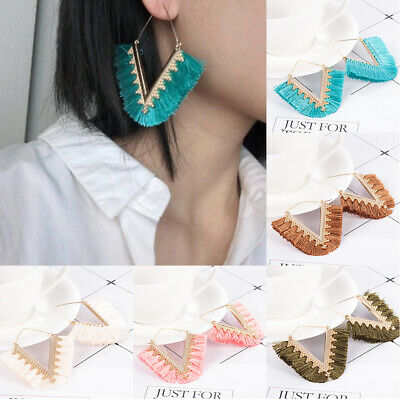 Women Ethnic Bohemian Long Tassel Fringe Ear Stud Dangle Earrings Jewelry Gifts