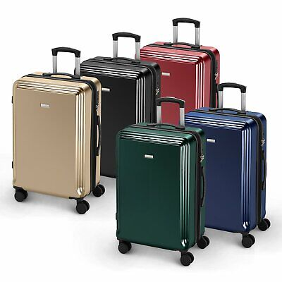 New Hard Shell PC Cabin Suitcase 4 Wheel Travel Luggage Trolley Lightweight Case