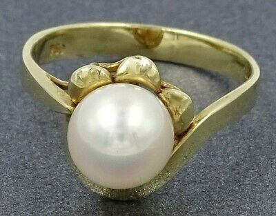 Simply Gorgeous Art Deco Vintage AKOYA CULTURED PEARL 18ct Yellow Gold RING