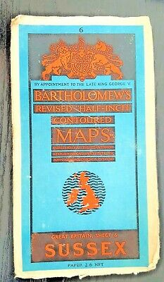"Bartholomew's Paper ""Half-Inch"" Contoured Map. Sheet Number 6 SUSSEX"