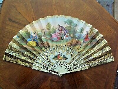 SUPERB ANTIQUE french 18 TH carved bone HAND PAINTED SCENE FAN