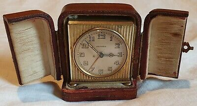 Antique Zenith French Fully Working Travelling Alarm Clock And Case