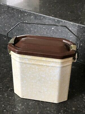1950s French Enamel Soup Can Pot Billy Vintage Retro Graniteware Cream Camping
