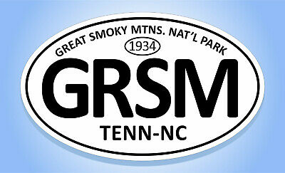 """GREAT SMOKY MOUNTAINS NATIONAL PARK (GRSM) Oval Sticker Euro Decal- 3-5/8"""" x 6"""""""
