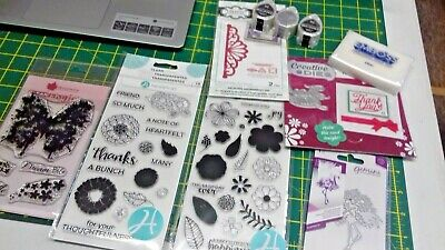 Assorted dies, stamps, mini ink pads & more x 10 items