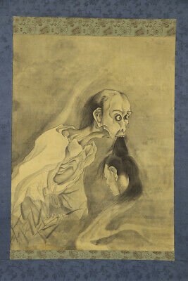 JAPANESE HANGING SCROLL ART Painting Ghost Yurei Obake Asian antique  #E7621