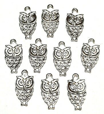10 x Small Silver Tone Owl Charms For Pendants or Earrings Jewellery Findings