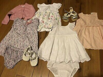 Baby Girls Summer Dress Bundle 6-9 Months White Company Gap H&M Mothercare Shoes