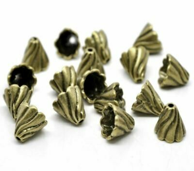 20pcs Beads Caps Cone Antique Bronze Ripple Carved (Fits 12mm-16mm Beads)