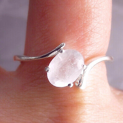Delicate Gem Solitaire Ring US 8 1/4 SILVERSARI 925 Solid Stg Silver ROSE QUARTZ