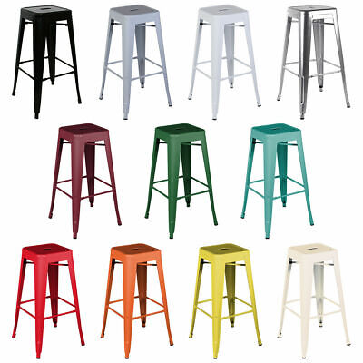 4/2 Metal Industrial Bar Stools Breakfast Kitchen Bistro Cafe Retro Tolix Style