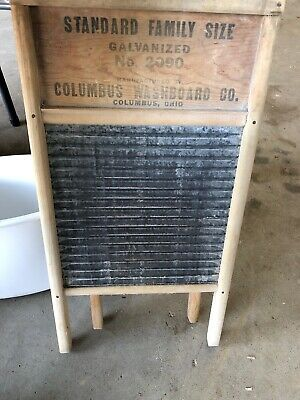 Vintage Columbus Washboard Co Standard Family Size No 2090 Galvanized Washboard
