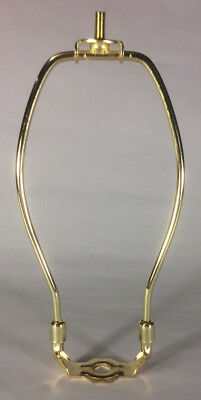 """9 1/2"""" Brass Plated Lamp Harp with Base & Protective Coating, regular weight"""