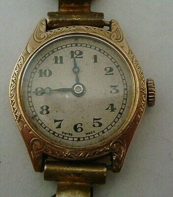Vintage Good Chester 1930 Ladies 9 Ct Gold Ornate Cased Mechanical Strap Watch
