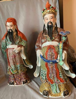 Famille Rose Porcelain Figures Chinese Immortals Marked Large Nice!