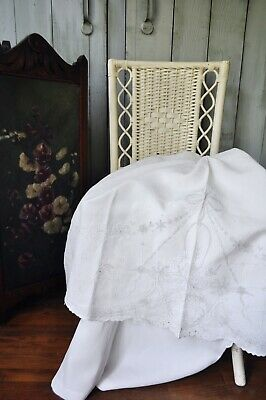 Antique Hand Embroidered High Relief Detailed White Linen Trousseau Flat Sheet