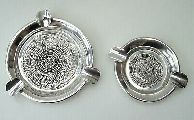 Pair Of Vintage 925 Sterling Silver Mexican Ashtrays Mayan Decoration