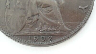 """British Rare 1902 George V11 """"LOW TIDE"""" Half Penny Coin. VF See photos."""