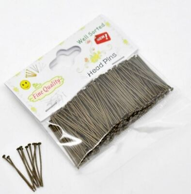 300pcs Well Sorted Head Pins Antique Bronze 30mm long