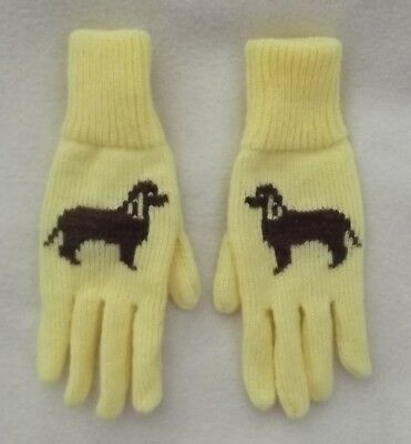 IRISH WATER SPANIEL dog NEW knitted LEMON GLOVES to fit ADULT