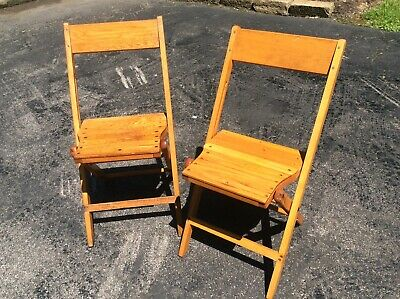 2 Same Vintage Snyder Adult Size Wood Folding Chairs - Very Good