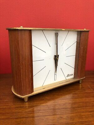 Vintage Retro Teak Brass Clock Kienzle Florida Desk Sideboard Clock