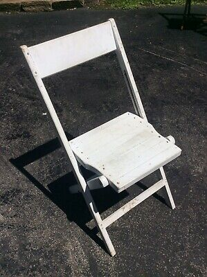 Vintage Snyder Painted White Wood Folding Chair. Very Good