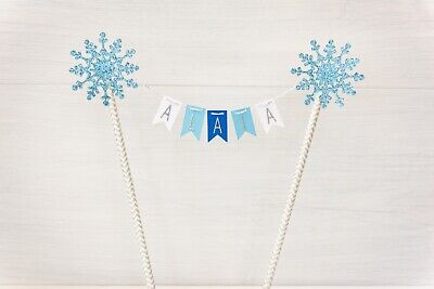 Personalised Snowflake blue & White bunting cake topper Frozen Winter cake