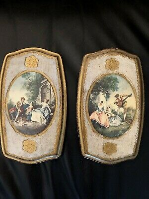 Pair Vintage Italian Florentine Gold Gilt Tole Wood Picture Frames Must SEE !!!