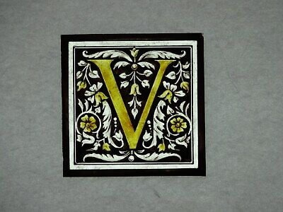 "Beautiful Stained glass.""V"".Hand painted.Kiln fired.100 x100mm.Antique style."