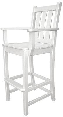 POLYWOOD Polywood Traditional Garden Bar Arm Chair In White TGD202WH Bar Chair