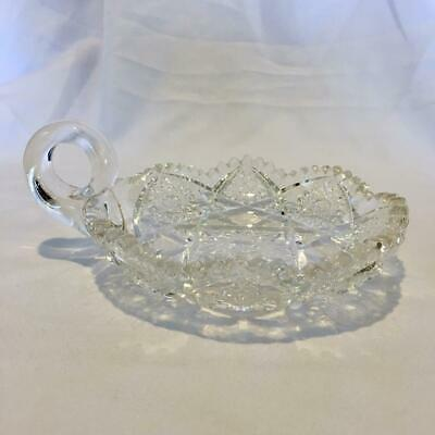 Vintage American Brilliant Cut Crystal Handled Nappy Dish, American Cut Crystal