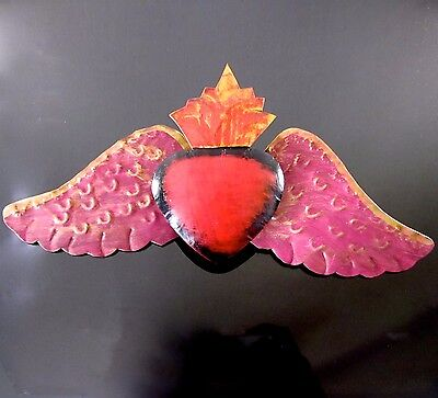 """Sacred Heart Tin Milagro Angel Wings Wall Hanging 11""""W Mexican Folk Art Ornament"""