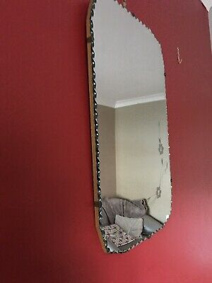 Art Deco Rectangular Decorated Unframed Mirror Original Chain Bevelled Edge