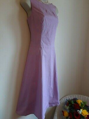 50s Style Aline Flare Dress Size 14 Pink Cotton Summer Casual Formal Wedding