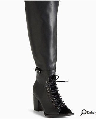263af856698 BLACK LACE-UP KNEE Boot, Size 11 Wide Width & Wide Calf by Torrid ...