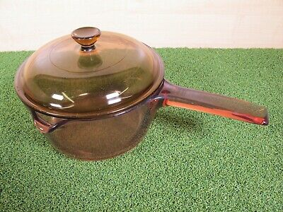 Retro Vision Corning France Amber Brown Glass Saucepan 1.5lt ~ 18cm with lid