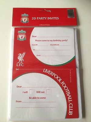 Pack of 20 LIVERPOOL Football Club Party Invitations With Envelopes.  LFC. NEW