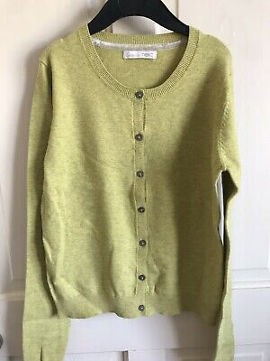 BNWOT Essential Next Cardigan. Girls. Green - Mustard. Age 14 Years. Soft Touch.