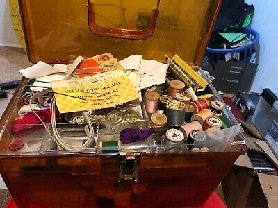 Huge Lot Of Vintage Sew Supplies THREAD needle Singer sewing machine supply box