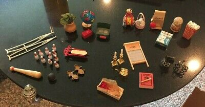 Unusual & Vintage Dollhouse 35 Piece Miniatures Mixed Lot. Sports. Home. Food.