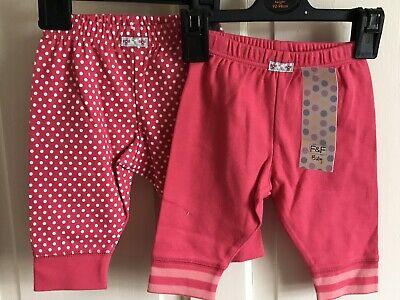 BNWT F&F 2 Pack Leggings / Trousers. Girls. Age 0 - 3 Months. Red - Spots