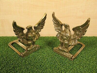 Pair of Vintage Brass Eagle Folding Bookends ~ made in England