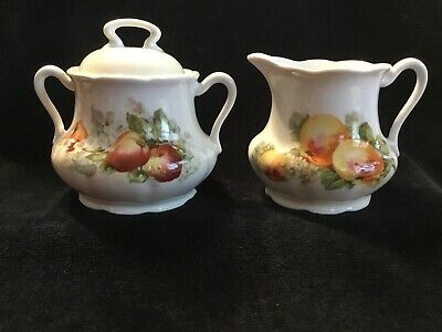 Vintage Antique Beautiful Fruit Apple China Creamer & Sugar-Germany Old Marking