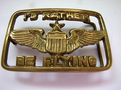 """1970s I'D RATHER BE Flying 3"""" x 2.5"""" Solid Brass Pilot Wings Buckle"""
