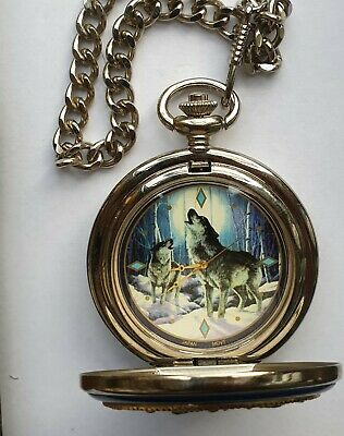 Pocket watch fob chain and case Franklin mint howling wolf
