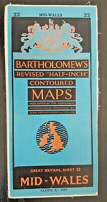 "Bartholomew's Cloth ""Half-Inch"" Contoured Map. Sheet Number 22 MID-WALES"